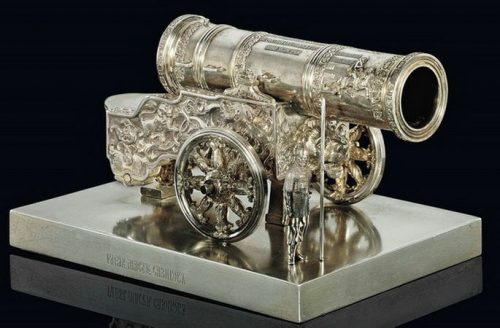 Silver model Tsar-Pushkis with a figure of a sentry (length 19 cm), Sazikov, St. Petersburg, mid-19th century