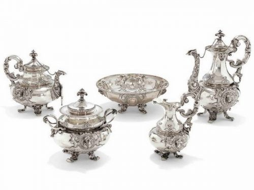 Silver tea and coffee service, decorated with masks and masks in ornamental cartouches, Sazikov, Moscow, 1847
