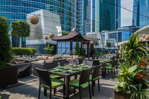 Summer terraces of restaurants in Moscow