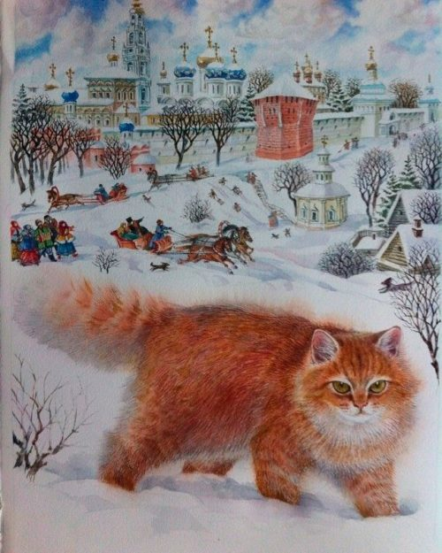 Ginger cat in the Russian village
