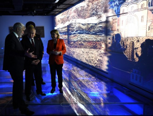Vladimir Putin visited the Archeology Museum of the Chudovy Monastery