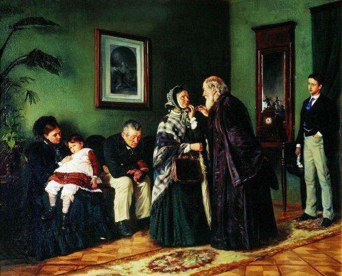 Vladimir Egorovich Makovsky. At the doctor's office. 1870