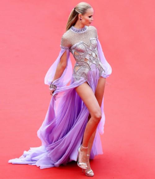 Natasha in Versace dress