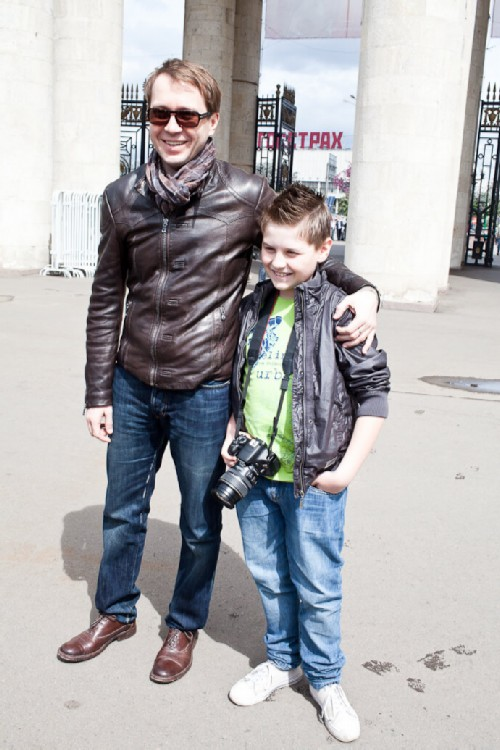 Evgeny Mironov with his son