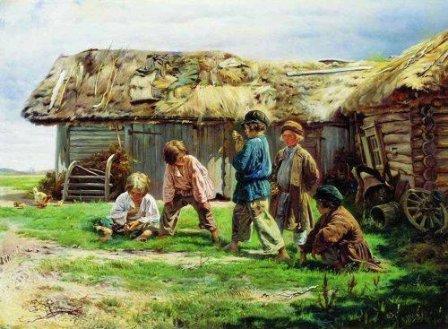 Vladimir Egorovich Makovsky. Knucklebones. 1870
