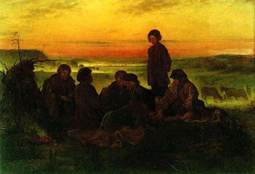 Peasant boys guard the horses at night. 1869