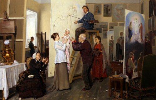 Makovsky Vladimir Egorovich. Despot of the family. In the artist's studio. 1893