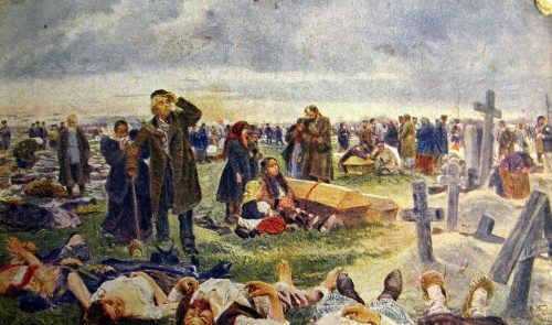 At the Vagankovskoye cemetery. The funeral of the victims of Khodynka. 1896-1901