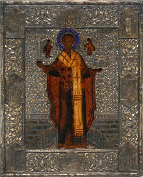 Postnikov. Frame for the icon of Nikolai Mozhaisky.