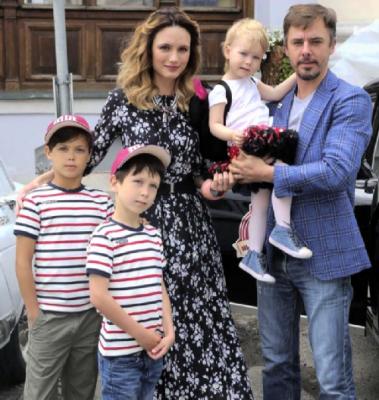 With Christina Brodskaya wife and children