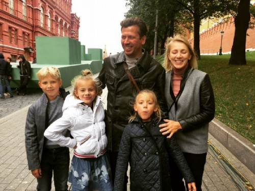 With wife and children