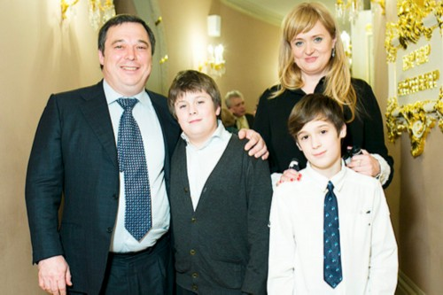 With husband and children