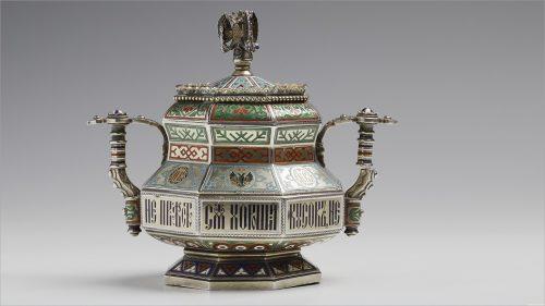 Khlebnikov Jewelry Company. Silver sugar bowl with enamel, 1874. Museum