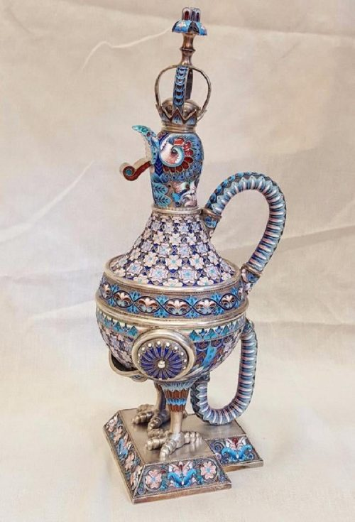 A rooster-shaped wine decanter, 1870s. Private collection, USA