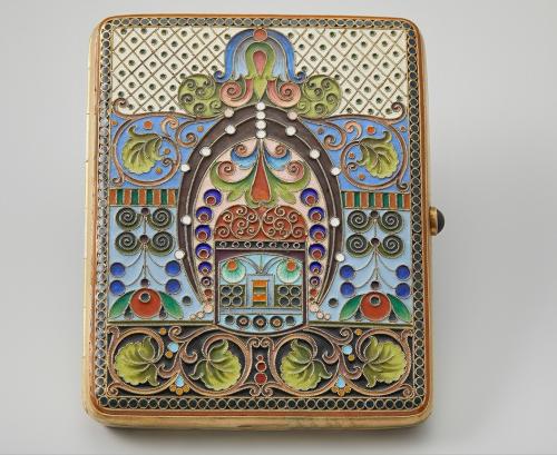 I.P. Khlebnikov's company. Cigarette case with enamel