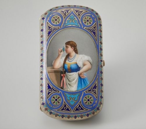 I.P. Khlebnikov's company. Cigarette case with painted and champlevé enamel