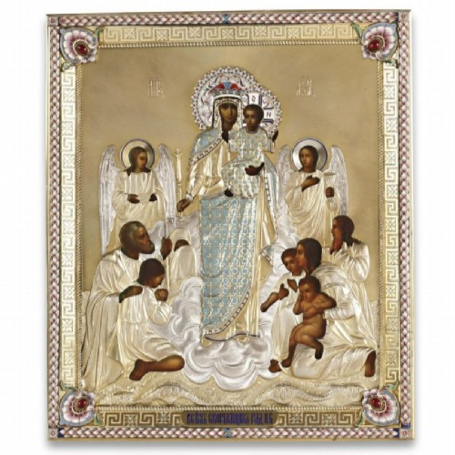 Silver-gilded icon of the Mother of God