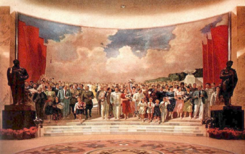 Socialist Realism. A group of artists under the direction of Vasily Efanov. Noble people of the Land of Soviets, 1939