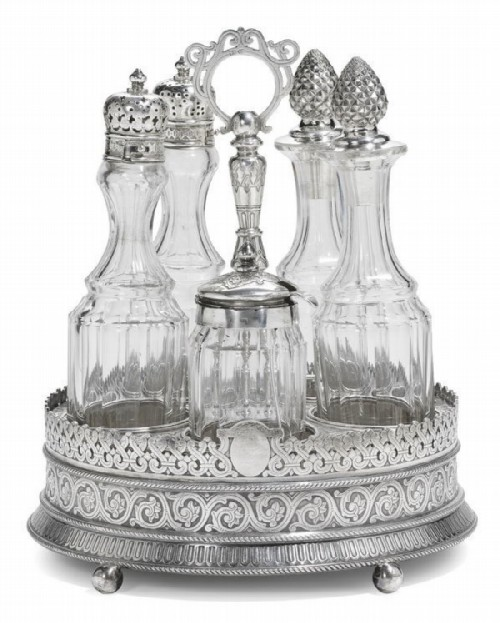 A set for spices made of silver and crystal, decorated with an ornament in the Russian style. Ovchinnikov, Moscow, 1874