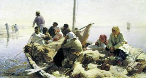 Abram Arkhipov. Along the Oka River. 1889. Oil on canvas, 41 x 77. Russia