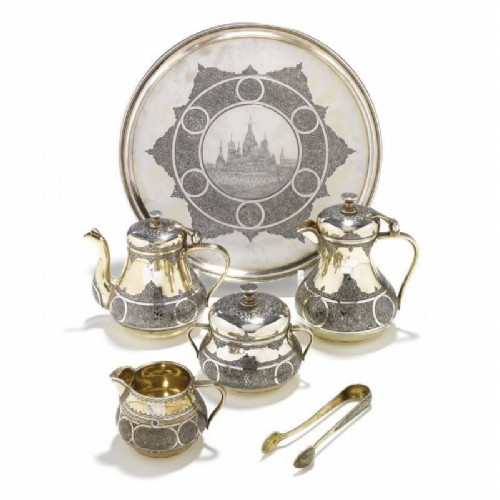 An exquisite gilded tea and coffee set made of silver and niello. Ovchinnikov, Moscow, 1874