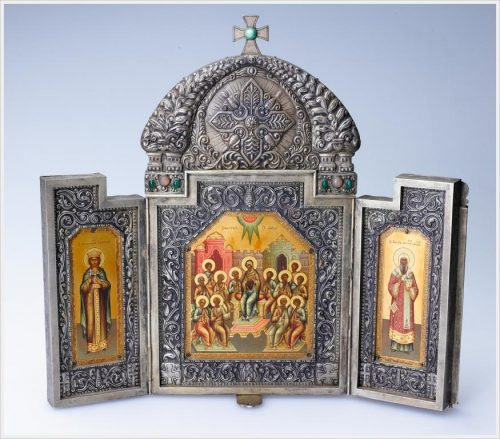 Khlebnikov Jewelry Company. Folding triptych The Descent of the Holy Spirit on the Apostles ; on the doors of the Holy Great Martyr Barbara and St. Peter, Metropolitan of Moscow