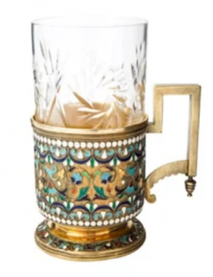 Gilded silver and enamel tea and glass holder - cup holder. Moscow, 1888-1890