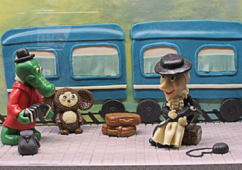 Heroes of the Russian cartoon Crocodile Gena from marzipan