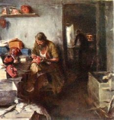 In the workshop of masks. Canvas, oil. State Russian Museum, St. Petersburg, Russia
