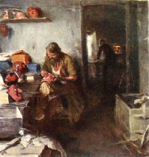 Abram Arkhipov. In the workshop of masks. Canvas, oil. State Russian Museum, St. Petersburg, Russia