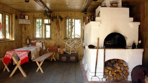 Interior in the classic style of Russian hut