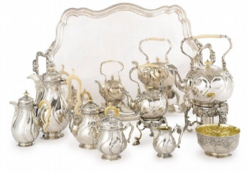Large silver service of Prince Sergei Golitsyn in the Russian Rococo style. Ovchinnikov, Moscow, 1887