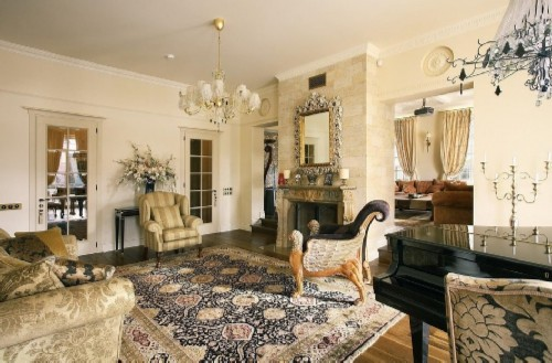 Living room interior in the style of a la rus