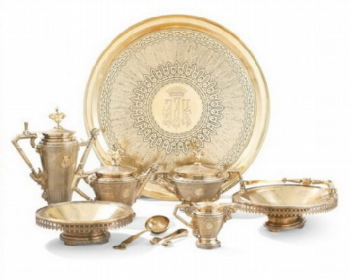 Magnificent gilded silver tea and coffee service, Ovchinnikov, Moscow, 1870-1871