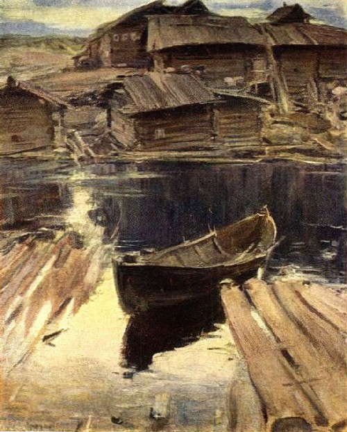 North village. Canvas, oil. State Tretyakov Gallery, Moscow, Russia