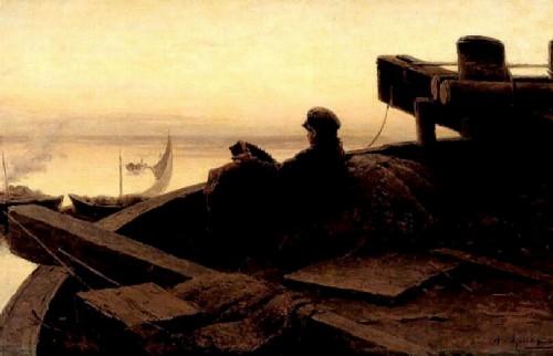 Abram Arkhipov. On the Volga. 1889. Oil on canvas 36 x 58. State Russian Museum. St. Petersburg. Russia