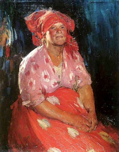 Abram Arkhipov. Peasant Woman in Pink. 1910th. Oil on canvas 89 x 68