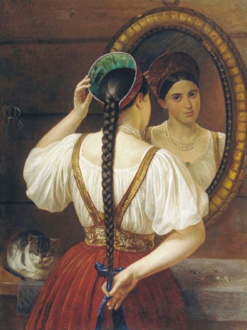 Why did Slavic girls braid their hair?. Philip Budkin. The girl in front of the mirror. 1848 - National Art Museum of the Republic of Belarus