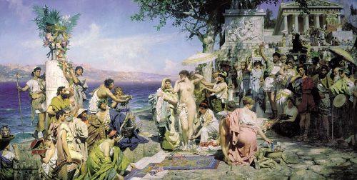 Henryk Siemiradzki. Phryne at the Poseidon Festival in Eleusis. 1889