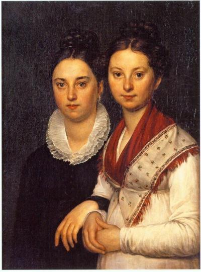 Alexey Egorov. Portrait of the daughters of the sculptor I.P. Martos Vera Ivanovna, the wife of the artist A.E. Egorov, and Sophia Ivanovna (1798 - 1856)