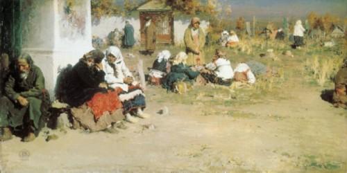 Radonitsa (Before Mass). 1892. Oil on canvas, 58 x 114