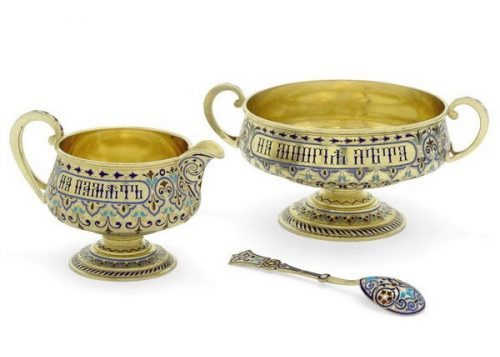 Silver gilded bowl and creamer decorated with champlevé enamel, Antip Kuzmichev, Moscow, circa 1890