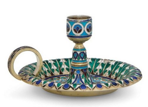 Silver gilded candlestick decorated with cloisonné enamel (diameter 7.5 cm), Antip Kuzmichev, Moscow, 1896, sold by Tiffany & Co.