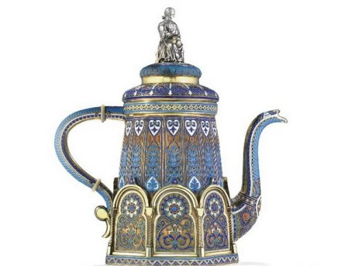 Silver gilded coffee pot decorated with cloisonné enamel (height 20.3 cm), Antip Kuzmichev, Moscow, 1887, sold by Tiffany & Co.