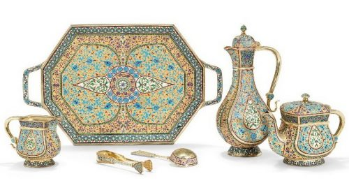Silver gilded tea and coffee set, decorated with cloisonné enamel, Antip Kuzmichev, Moscow, 1899-1908, sold by Tiffany & Co.