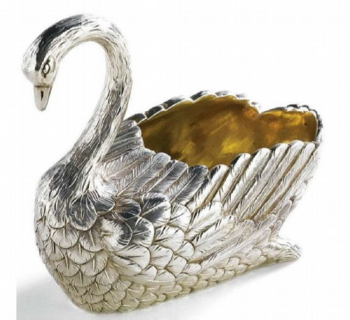 Silver salt shaker in the shape of a swan. Ovchinnikov, St. Petersburg, late 19th century.