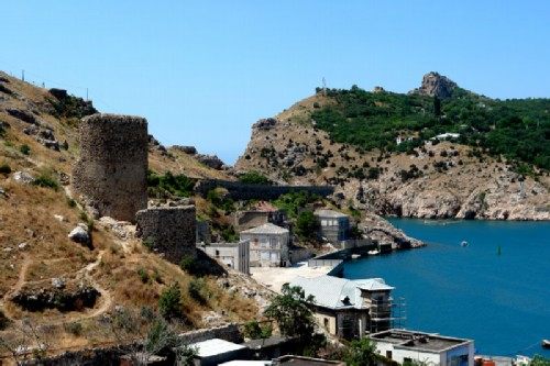 Towers of the medieval fortress Chembalo in Balaklava