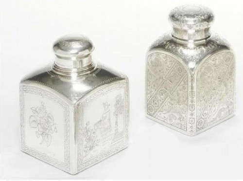 Two silver caddies with engraved ornament.  Moscow, 1890