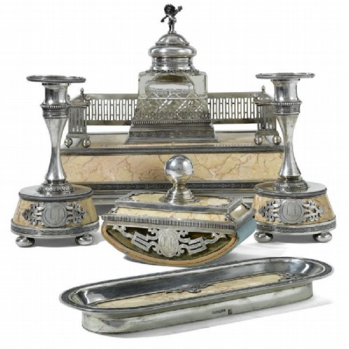 Writing set made of marble, crystal and silver.  St. Petersburg, 1896