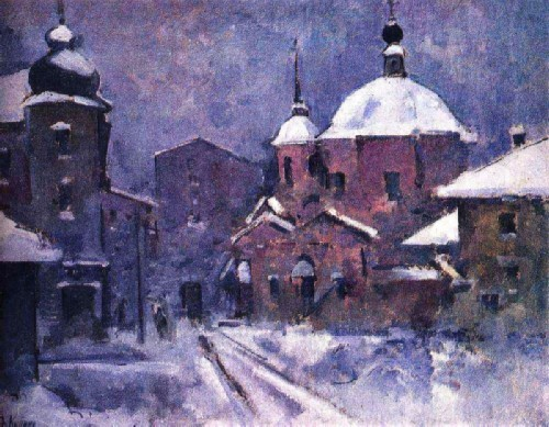 Cityscape with a pink church. Dusk. 1924
